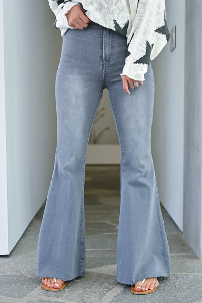 Fit N Flare Jeans - Charcoal bell bottom jeans closet candy front