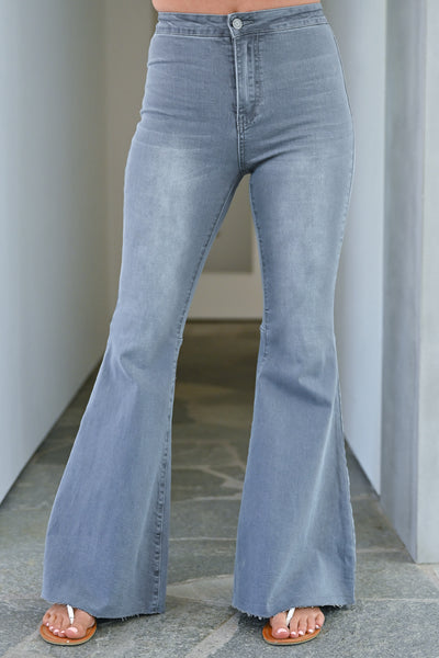 Fit N Flare Jeans - Charcoal bell bottom jeans closet candy  front 3