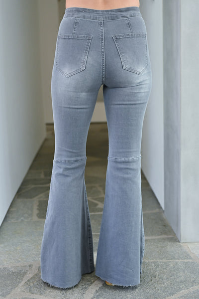 Fit N Flare Jeans - Charcoal bell bottom jeans closet candy back