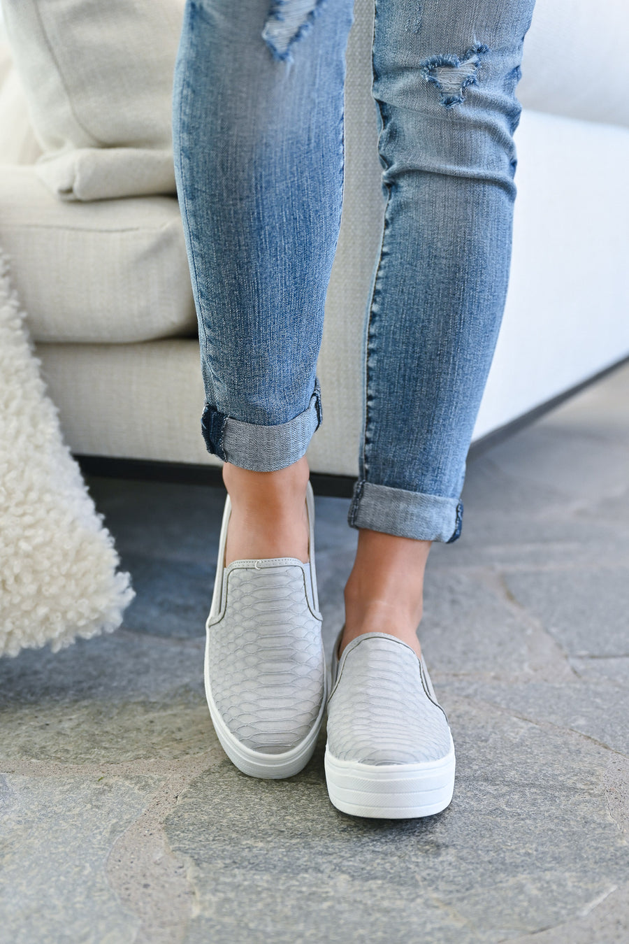 Piper Snake Print Sneakers - Grey womens trendy slip on platform tennis shoes closet candy side