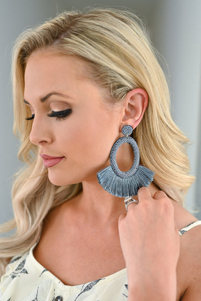 Making A Statement Earrings  - Grey womens trendy statement earrings closet candy 2