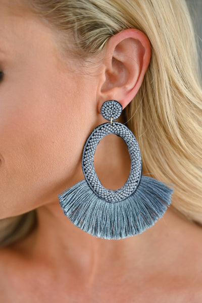 Making A Statement Earrings  - Grey womens trendy statement earrings closet candy 1