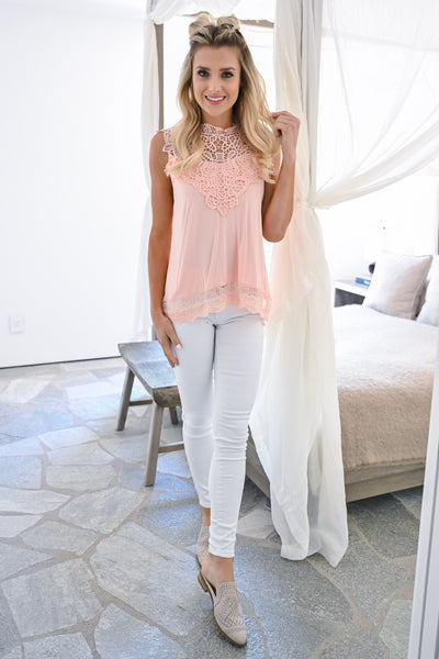 Mimosa Mornings Crochet Top - Peach sleeveless lace knit top closet candy front 2
