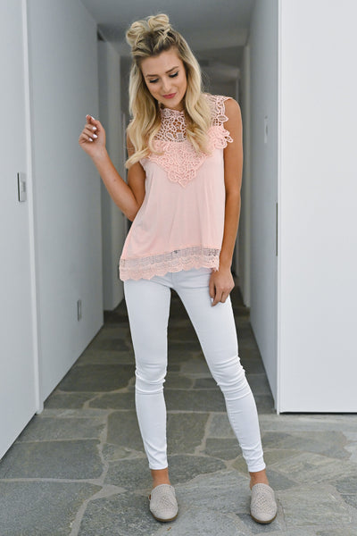 Mimosa Mornings Crochet Top - Peach sleeveless lace knit top closet candy front