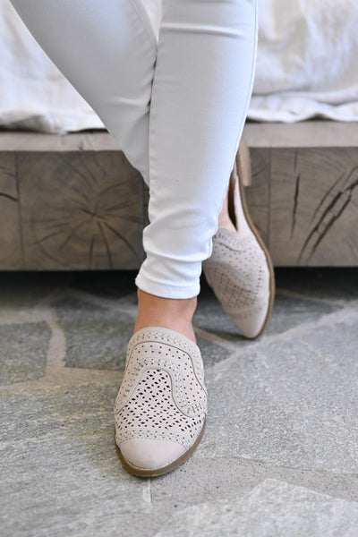 Riyal Perforated Mules - Taupe womens slip on loafer mules closet candy front 1