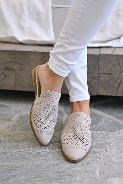 Riyal Perforated Mules - Taupe womens slip on loafer mules closet candy front 2