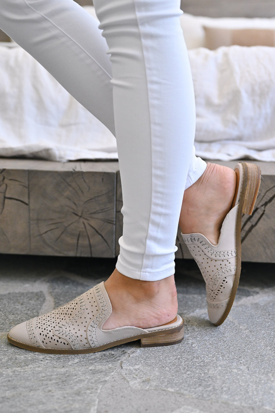 Riyal Perforated Mules - Taupe womens slip on loafer mules closet candy front
