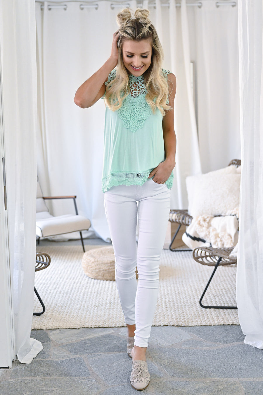 Mimosa Mornings Crochet Top - Mint sleeveless lace knit top closet candy front