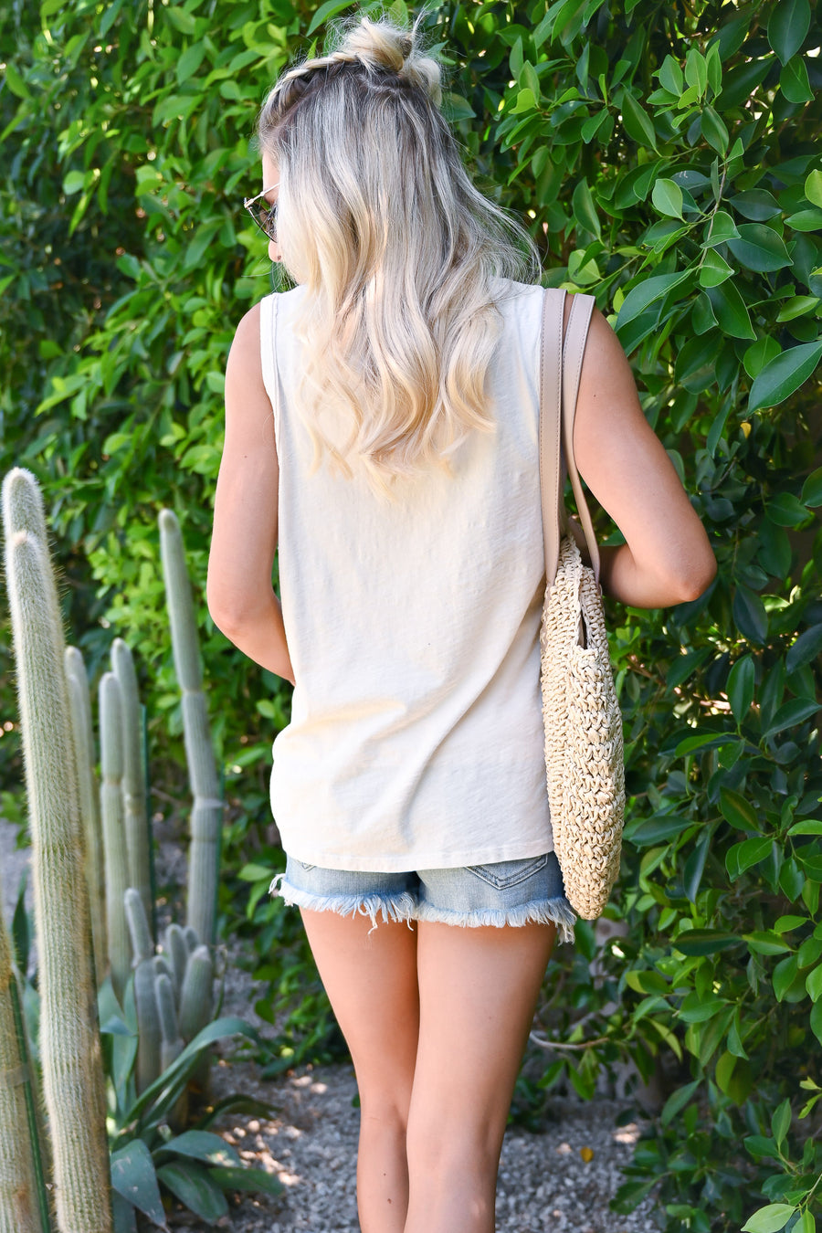 """Sea Sun Salt"" Embroidered Tank Top - Cream womens trendy summer sleeveless graphic tank closet candy front"