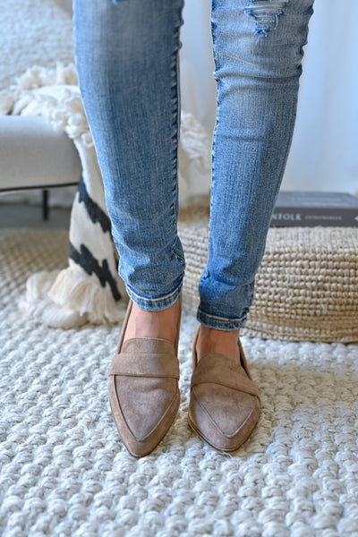 Perfect Timing Suede Loafers - Taupe womens vegan suede slip on loafers closet candy front 2