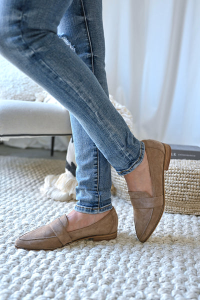Perfect Timing Suede Loafers - Taupe womens vegan suede slip on loafers closet candy side