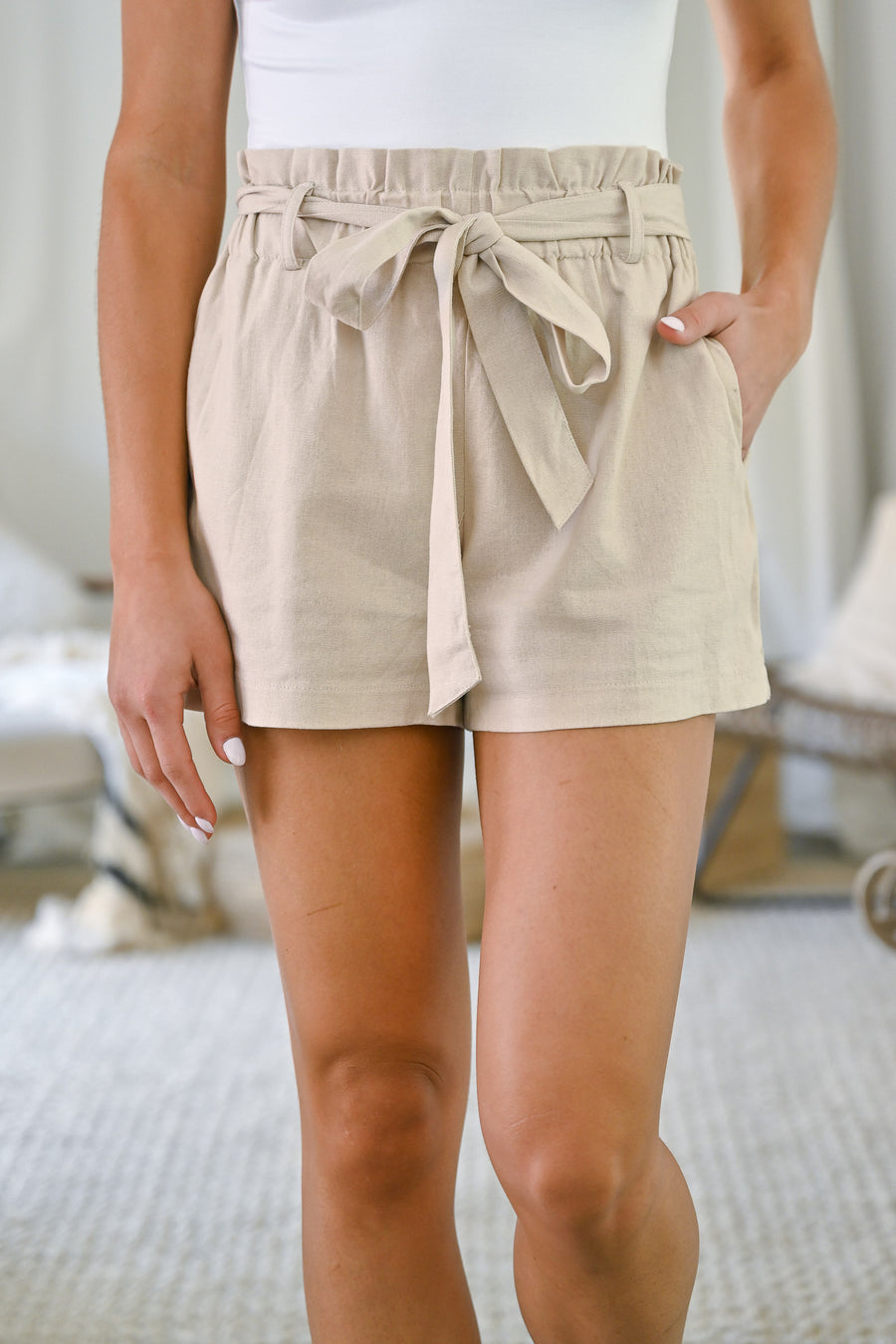 Summer Crush Linen Paper Bag Shorts - Khaki womens cute summer light weight shorts closet candy front
