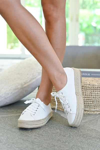Jessica Espadrille Platform Sneakers - White womens straw bottom lace up sneakers closet candy front2
