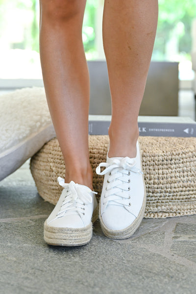 Jessica Espadrille Platform Sneakers - White womens straw bottom lace up sneakers closet candy front