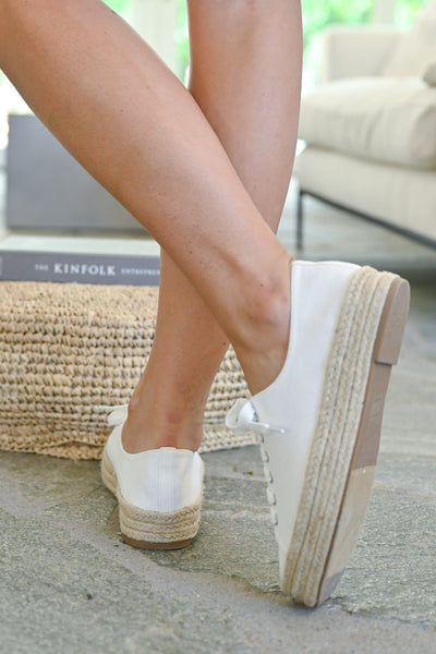 Jessica Espadrille Platform Sneakers - White womens straw bottom lace up sneakers closet candy back