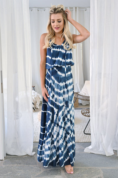 So Many Places To Go Maxi Dress - Navy womens trendy long tie dye dress closet candy front3