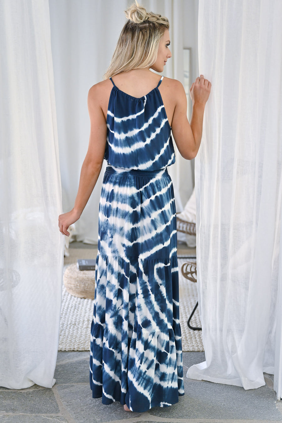 So Many Places To Go Maxi Dress - Navy womens trendy long tie dye dress closet candy front2