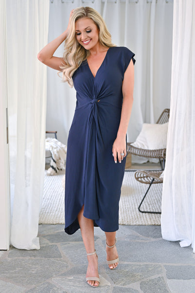 Wishful Thinking Dress - Navy womens solid twist front midi dress closet candy  front 2