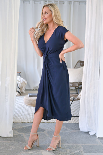Wishful Thinking Dress - Navy womens solid twist front midi dress closet candy side