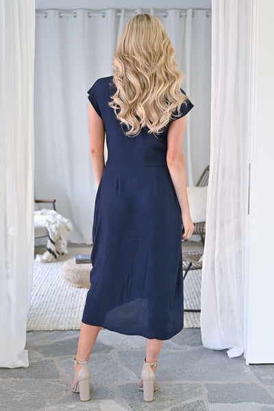 Wishful Thinking Dress - Navy womens solid twist front midi dress closet candy back