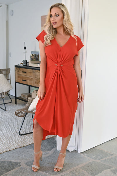 Wishful Thinking Dress - Tomato Red womens trendy twist front midi dress closet candy front 3