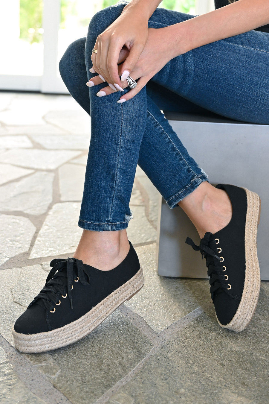 Jessica Espadrille Platform Sneakers - Black womens straw bottom lace up sneakers closet candy sitting