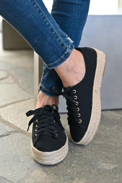 Jessica Espadrille Platform Sneakers - Black womens straw bottom lace up sneakers closet candy front