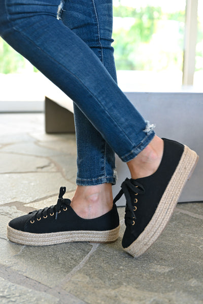 Jessica Espadrille Platform Sneakers - Black womens straw bottom lace up sneakers closet candy  side 2