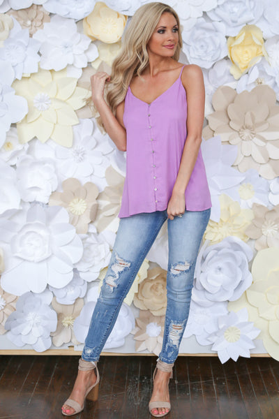 Long Island Tank Top - Lavender button up tank top, cute outfit, Closet Candy Boutique