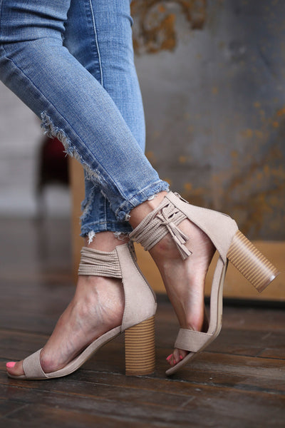Sweet Thing Heels - Taupe strappy high heel sandals closet candy boutique