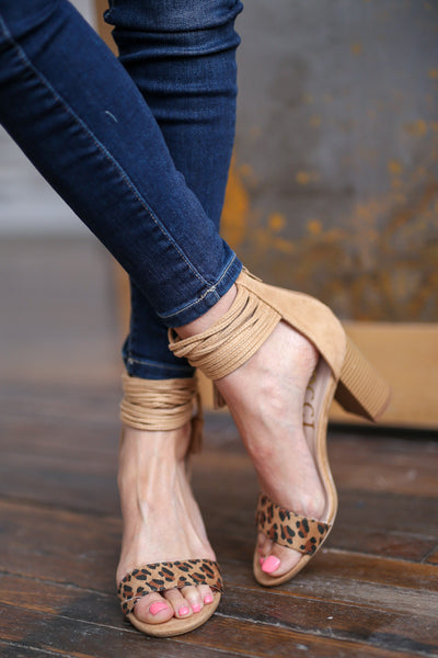 Sweet Thing Heels - Leopard print strappy heels with tassel, front, Closet Candy Boutique