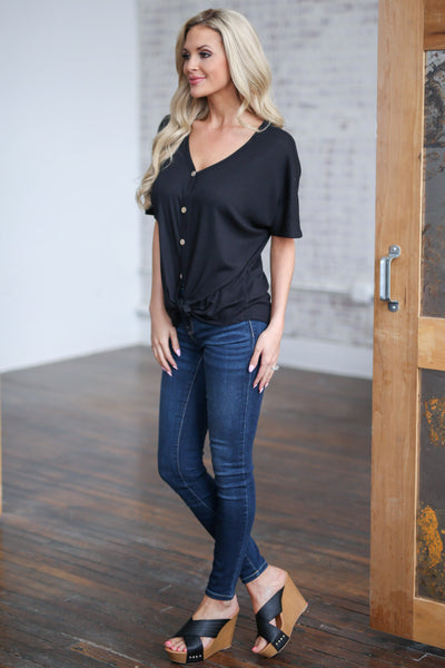 Casual Outings Knot Top - Black v-neck button up tie front top, side view, Closet Candy Boutique