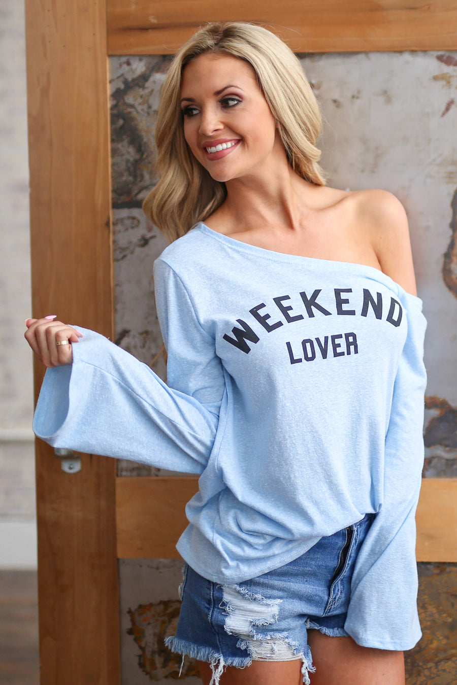 """Weekend Lover"" Top - Light Blue women off shoulder graphic sweater closet candy boutique"