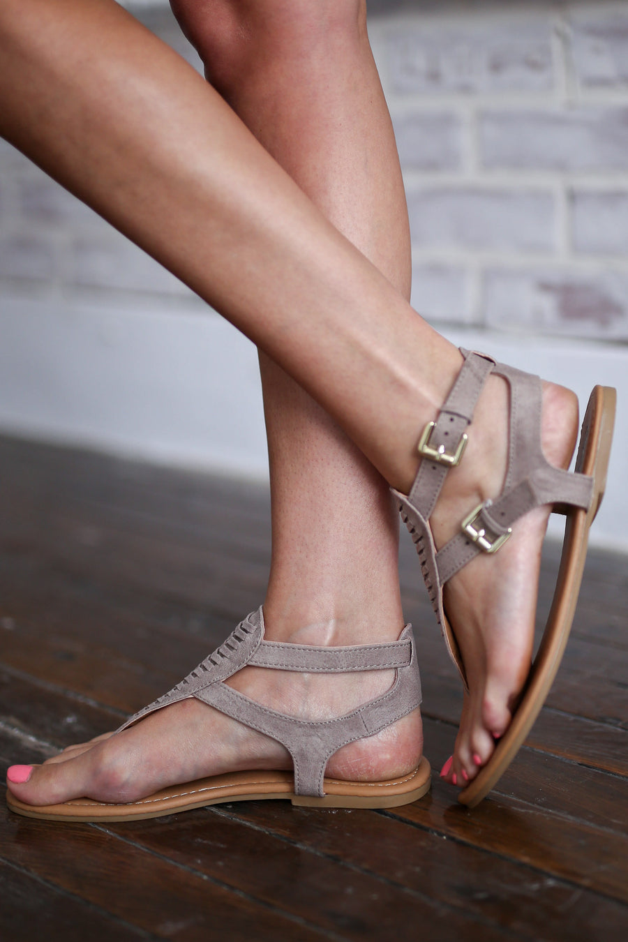 Time of My Life Sandals - Cute taupe strappy sandals, front, Closet Candy Boutique