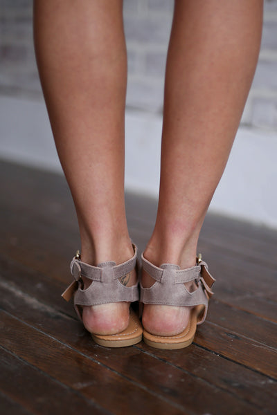 Time of My Life Sandals - Cute taupe strappy sandals, back, Closet Candy Boutique