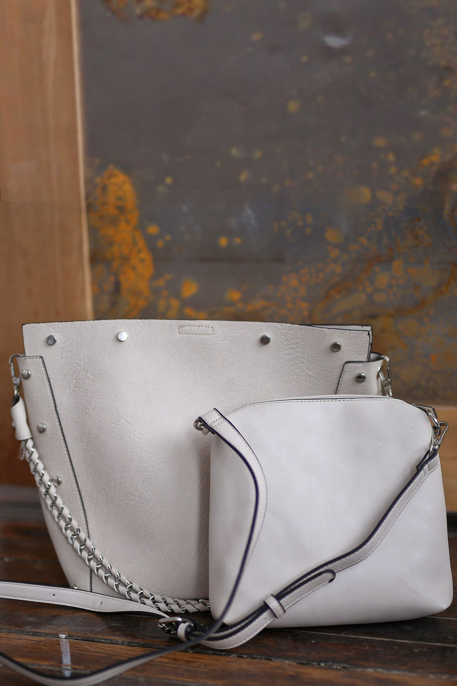 Rumi Purse - Cream vegan leather purse, front, Closet Candy Boutique