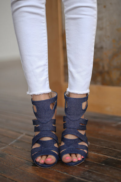 High Hopes Heels - Denim strappy heels, front, Closet Candy Boutique