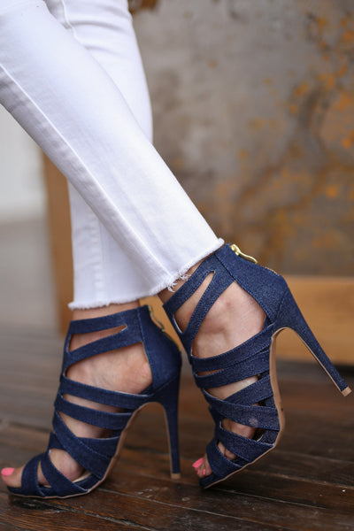 High Hopes Heels - Denim strappy heels, side, Closet Candy Boutique