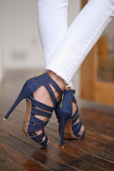 High Hopes Heels - Denim strappy heels, back, Closet Candy Boutique