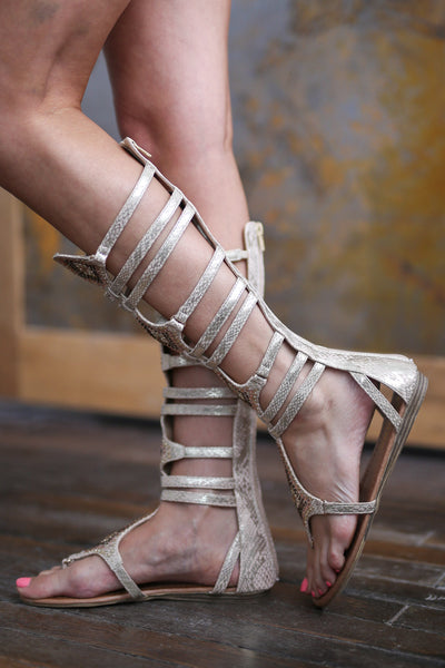 Making My Way To You Gladiator Sandals - Beige studded gladiator sandals, side, Closet Candy Boutique