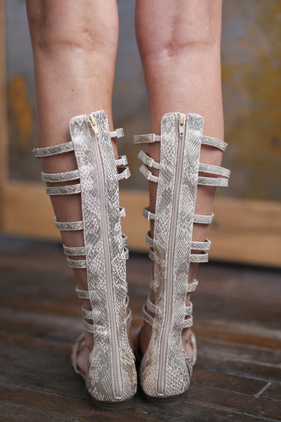 Making My Way To You Gladiator Sandals - Beige studded gladiator sandals, back, Closet Candy Boutique