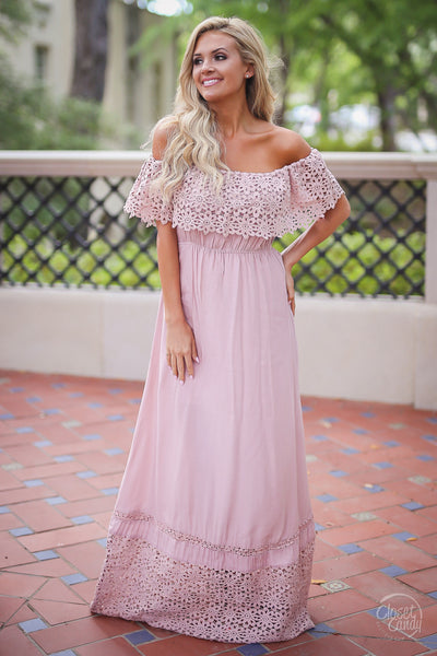 Closet Candy Boutique, Dreaming in Daisies Maxi Dress, baby shower outfit, baby shower dress, trendy and cute women's clothing, off the shoulder dress, maxi dress, spring outfit, summer outfit, summer style, front view