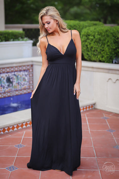 Closet Candy Boutique - strappy black maxi dress for date night, front
