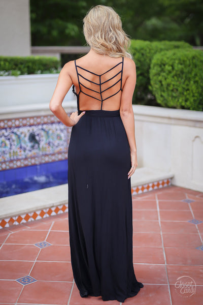 Closet Candy Boutique - black strappy back maxi dress for date night, back view