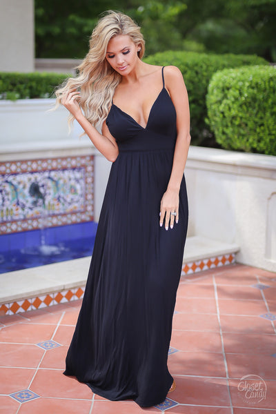 Closet Candy Boutique - cute strappy black maxi dress for date night