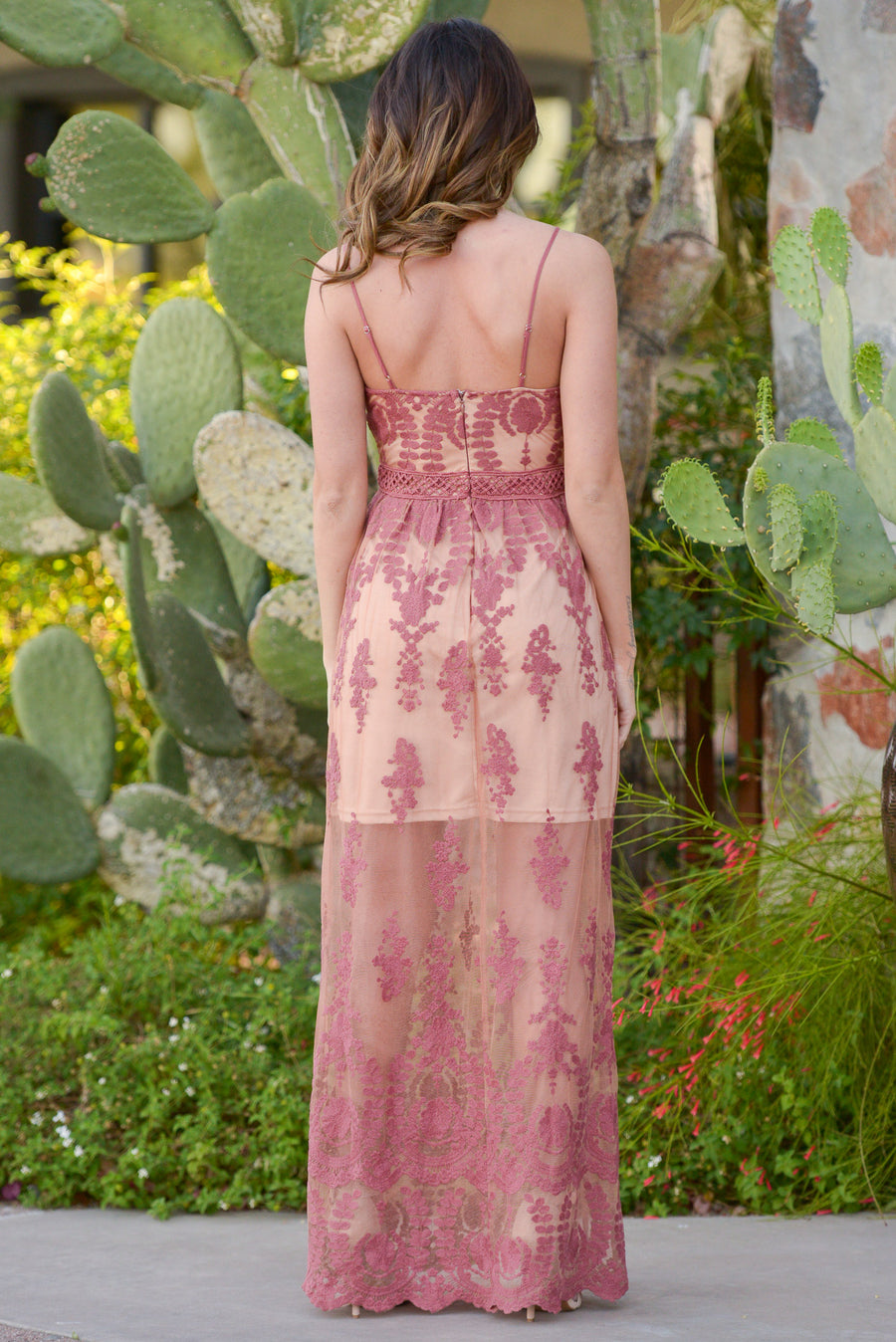 Enchanted Maxi Dress - Mauve lace maxi dress, front, Closet Candy Boutique