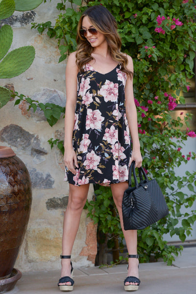 Out of Towner Dress - Black floral print shift dress, front, Closet Candy Boutique