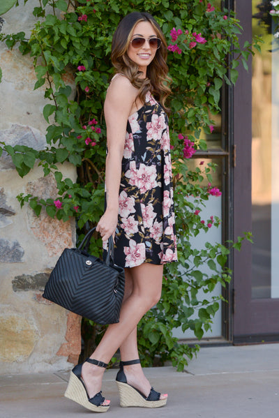 Out of Towner Dress - Black floral print shift dress, side, Closet Candy Boutique