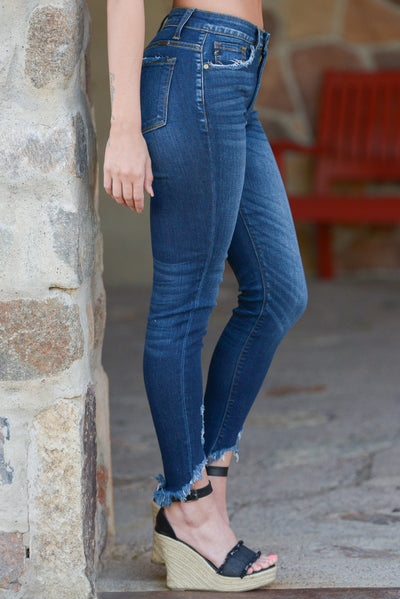 KAN CAN Distressed Skinny Jeans - Mallory Wash distressed skinny jeans, side, Closet Candy Boutique