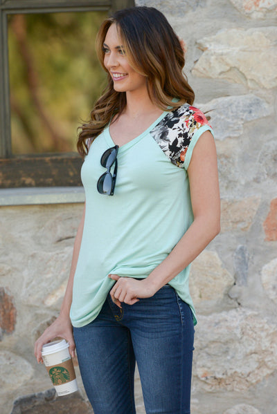 City Limits Top - Mint floral print sleeve top, side, Closet Candy Boutique